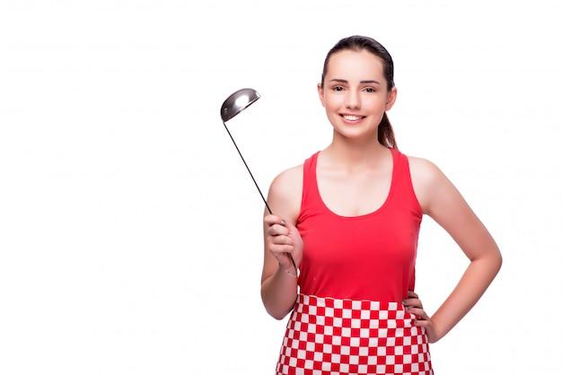 Mujer joven con cucharón aislado en blanco Foto Premium