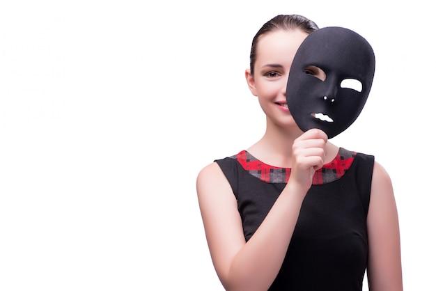 Mujer joven con máscara aislada en blanco Foto Premium