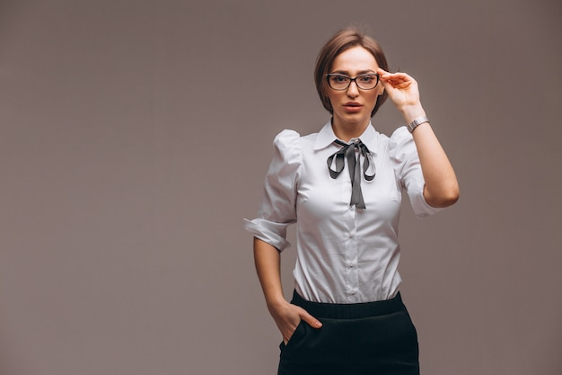Mujer de negocios con emociones aisladas Foto gratis