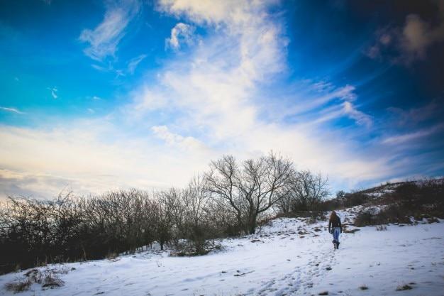 mujer que camina en la nieve foto gratis
