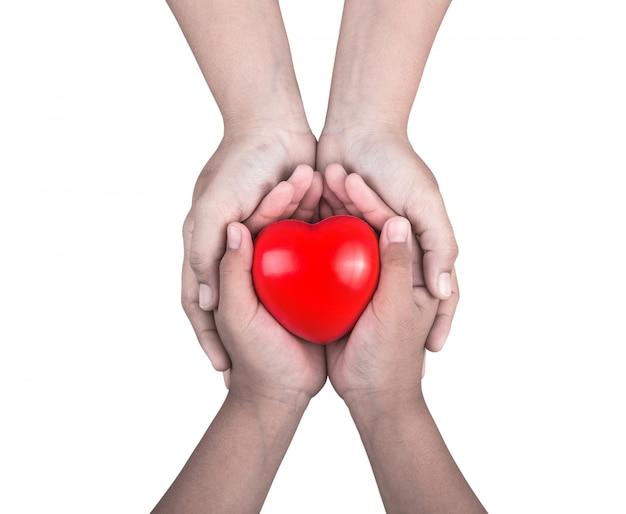 Mujer que sostiene las manos de los niños pequeños y apoya la forma del corazón rojo Foto Premium