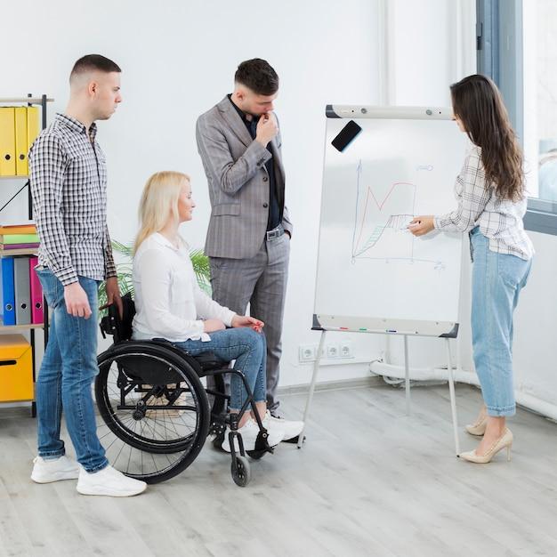 Mujer en silla de ruedas que asiste a la presentación en el trabajo Foto gratis