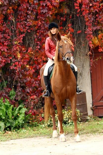 Mujer y su caballo marrón Foto gratis
