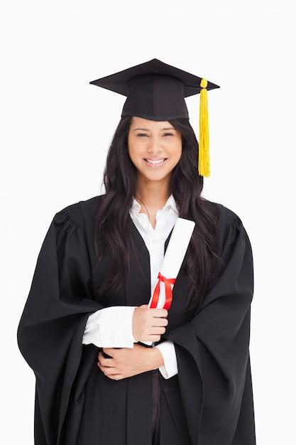 calidad perfecta super especiales Nuevos objetos Mujer con su título vestido con su toga de graduación ...