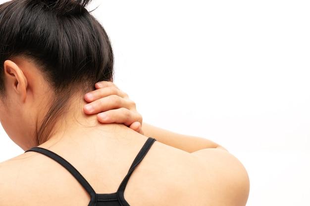 6b1a31fb0b5e Las mujeres jóvenes dolor en el cuello y el hombro la atención médica de  lesiones y el concepto médico