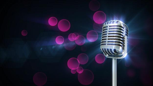 Música retro micrófono giro partícula color púrpura Foto Premium