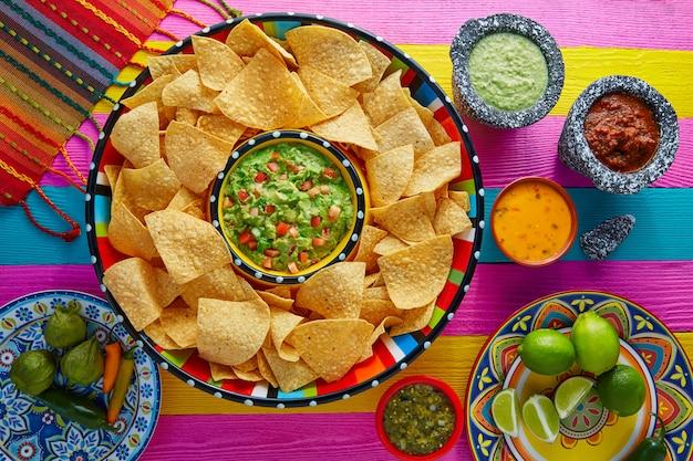 Nachos con guacamole y chips de tortilla sombrero. Foto Premium