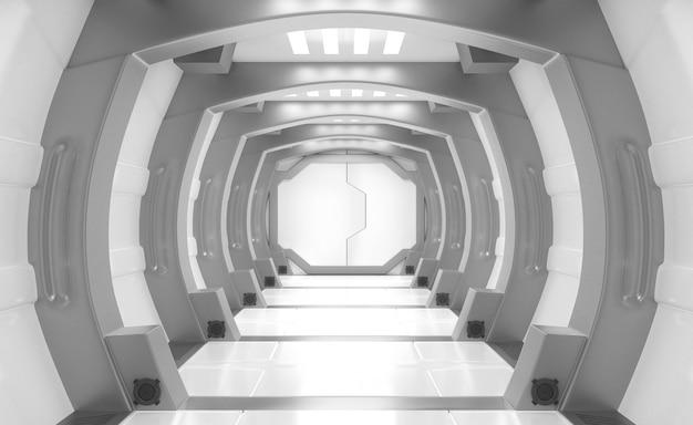 Nave espacial interior blanco y gris. Foto Premium