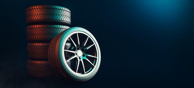 Neumáticos 5 líneas sobre un fondo negro. Foto Premium