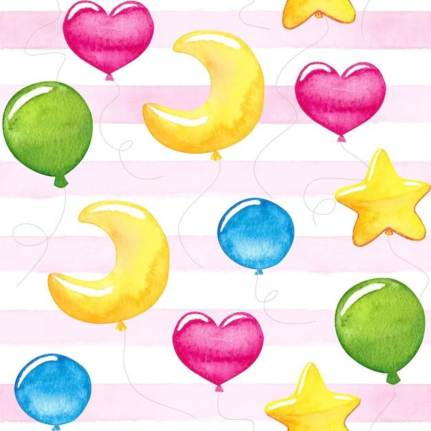 Niña linda globos coloridos acuarelas Foto Premium