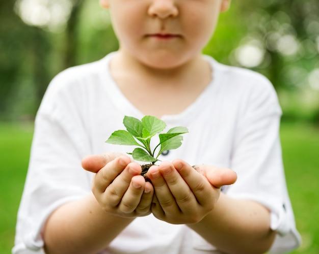 Niño pequeño que sostiene el suelo y la planta en el parque Foto gratis