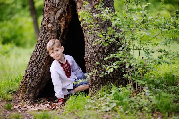 El niño pequeño se sienta en un árbol hueco. la niña viste una camisa con el adorno ucraniano. Foto Premium
