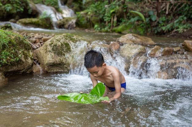 Los niños juegan alegremente en la corriente. Foto gratis