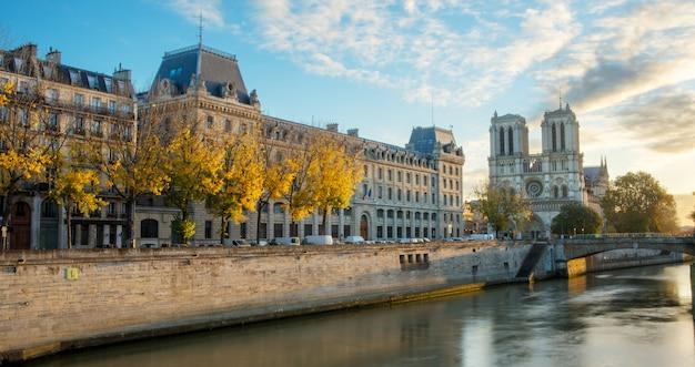 Notre dame de paris y el río sena en parís, francia Foto Premium