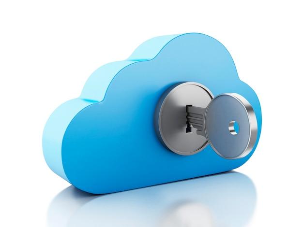 Nube 3d bloqueada por llave en el fondo blanco. Foto Premium