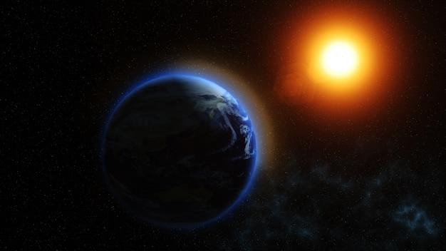 Nuestro planeta tierra, el sol brilla en el planeta tierra visto desde el  espacio | Foto Premium