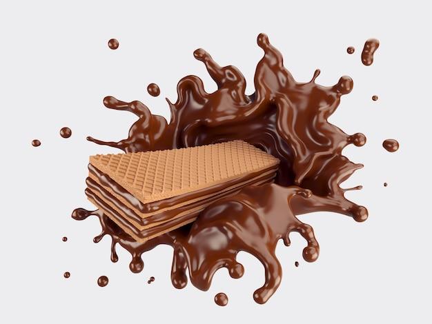 Obleas con chocolate splash Foto Premium