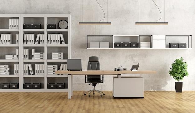 Oficina moderna en blanco y negro Foto Premium
