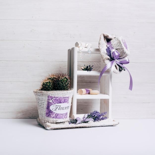 Olla de cactus en estante de madera con sombrero de saco sobre el escritorio Foto gratis