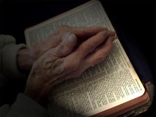 orando las manos sobre la Biblia Foto Gratis
