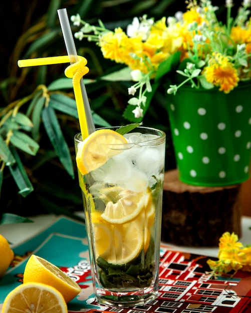 Original mojito con hielo sobre la mesa Foto gratis