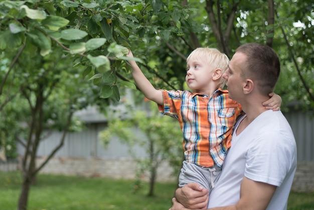 El padre y el pequeño hijo están cosechando manzanas. jardín en el fondo Foto Premium