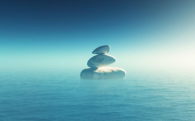 Paisaje 3d con guijarros de equilibrio en el océano Foto gratis
