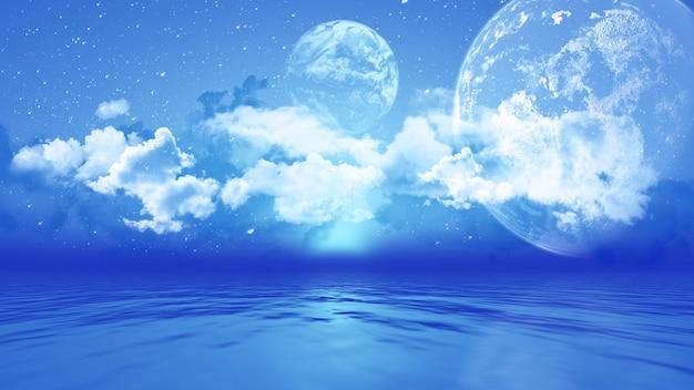 Paisaje 3d con planetas sobre el océano. Foto gratis