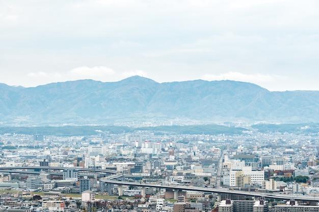 Paisaje aéreo de la ciudad de kyoto en japón Foto Premium