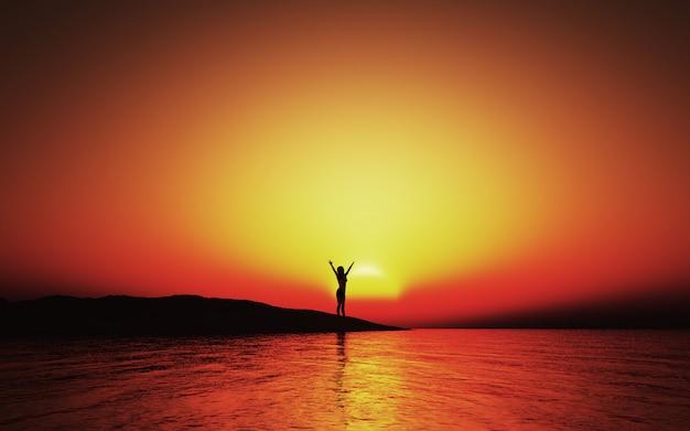 Paisaje al atardecer 3d con mujer con los brazos levantados de alegría Foto gratis