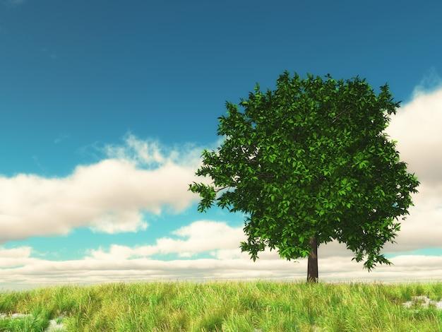 Paisaje de campo 3d con árbol contra el cielo azul Foto gratis
