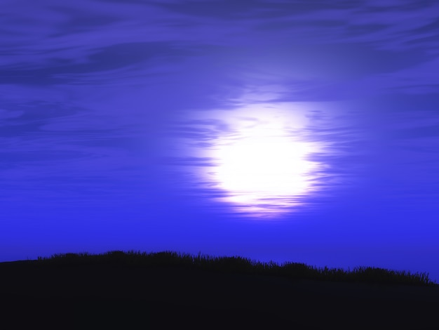 Paisaje del cielo del atardecer púrpura 3d Foto gratis