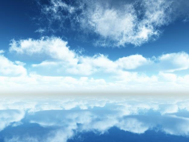 Paisaje con cielo azul y nubes reflejadas en el tranquilo mar azul Foto gratis