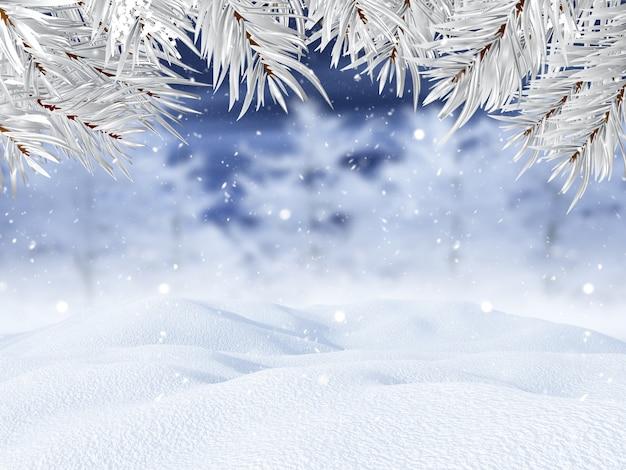 Paisaje invernal 3d con ramas de árboles de navidad Foto gratis