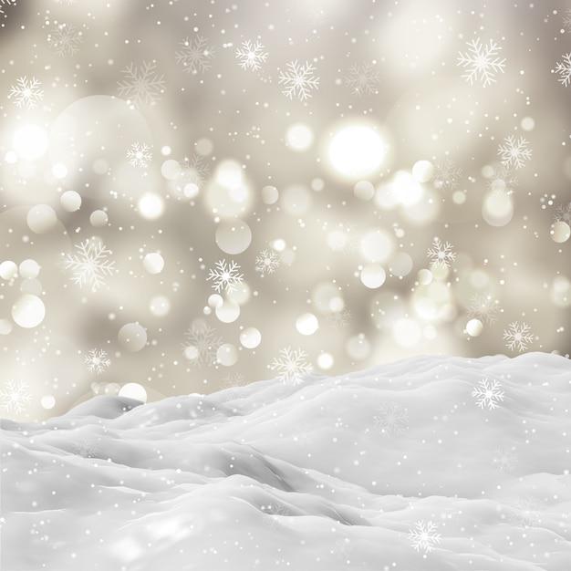 Paisaje de invierno cubierto de nieve en 3d con luces bokeh y copos de nieve cayendo Foto gratis