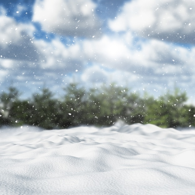 Paisaje de invierno cubierto de nieve 3d Foto gratis