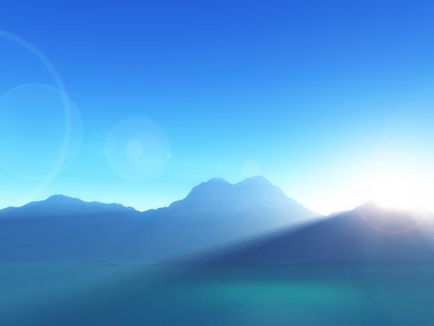 Paisaje de montaña en 3d contra un cielo al atardecer Foto gratis