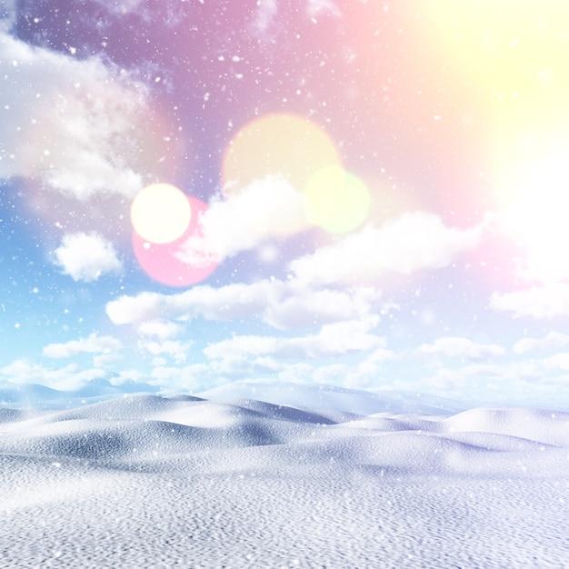 Paisaje nevado 3d con efecto vintage. Foto gratis
