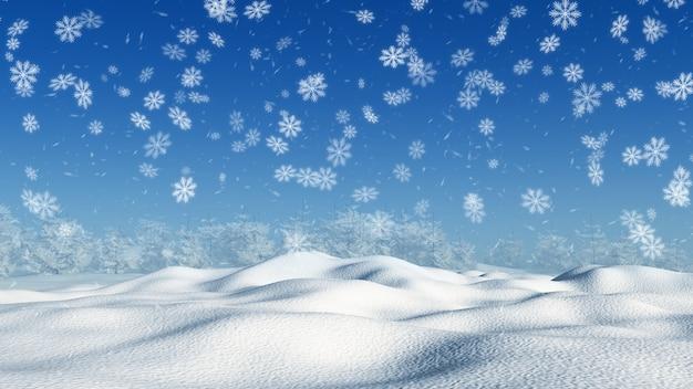 Paisaje nevado 3d Foto gratis
