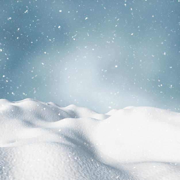 Paisaje nevado de invierno 3d Foto gratis