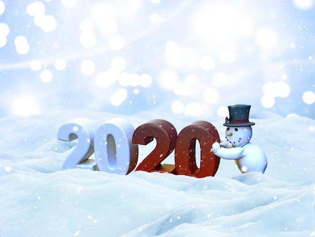 Paisaje de nieve de navidad 3d con muñeco de nieve que trae el año nuevo 2020, tarjeta de felicitación Foto gratis