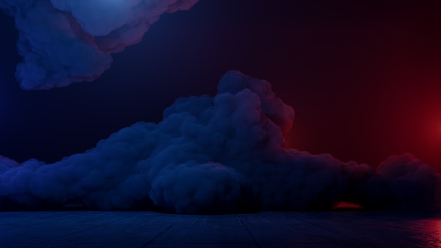 Paisaje de realidad virtual de ciencia ficción estilo cyberpunk render 3d, universo de fantasía y fondo de nube espacial Foto Premium