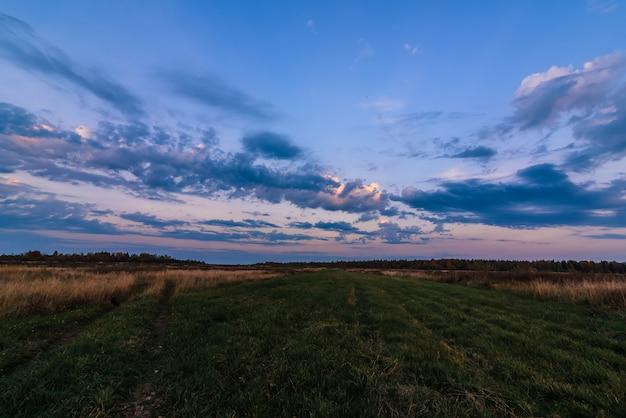Paisaje de tarde de otoño en un campo con bosque en el horizonte Foto Premium