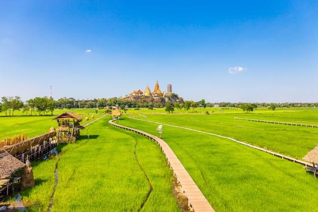 Paisaje del templo de wat tham sua (templo de la cueva del tigre) con campos de arroz jazmín Foto Premium