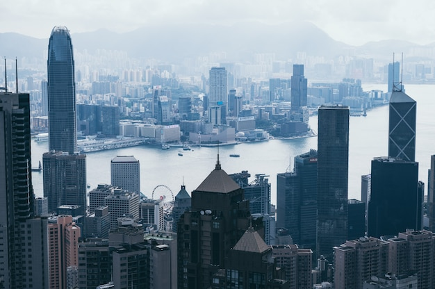 Paisaje urbano de hong kong, vista desde las montañas Foto Premium