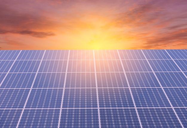 El panel solar en el fondo del cielo colorido y la luz del sol, concepto de energía alternativa Foto Premium