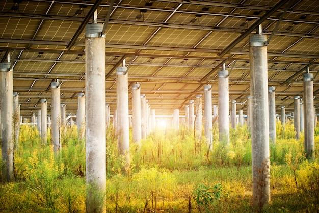 Paneles fotovoltaicos para producción eléctrica renovable, navarra, aragón, españa. Foto Premium