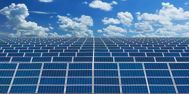 Paneles solares de energía alternativa con cielo azul Foto Premium