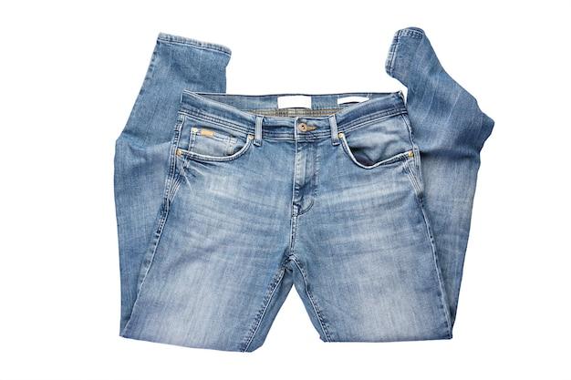 Pantalones De Mezclilla Azul Para Hombre Doblados Aislados Sobre Fondo Blanco Foto Premium