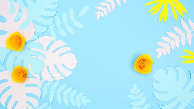 Papel decorativo hojas y flores Foto gratis